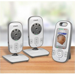VTech Dual Camera Video and Audio Baby Monitor with Night Vision and Talk Back Intercom - VM312-2, White