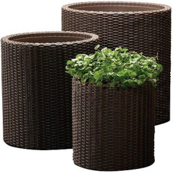 Cylinder Rattan Planter Set Of 3 – Brown – Keter, Espresso Brown