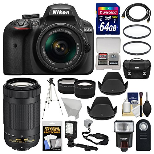 nikon d3400 digital slr camera 18 55mm vr 70 300mm dx af p lenses with - Allshopathome-Best Price Comparison Website,Compare Prices & Save
