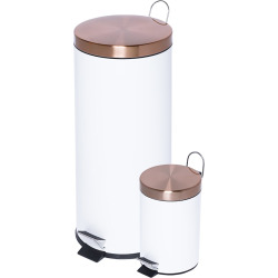 Honey-Can-Do Round 30-Liter & 3-Liter Soft-Close Trash Can Set, White