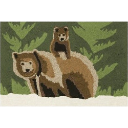 Frontporch Indoor/Outdoor Bear Family Forest Rug 30″X48″ Green – Liora Manne