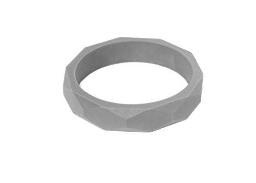 Itzy Ritzy Teething Happens Silicone Jewelry Baby Teething Bangle Bracelet Geometric, Grey