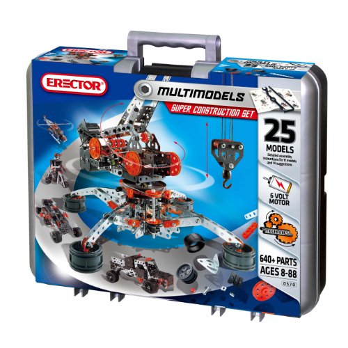 Meccano Erector by Super Construction Set, 25 Motorized Model Building Set, 638 Pieces, For Ages 10 and up, STEM Education Toy