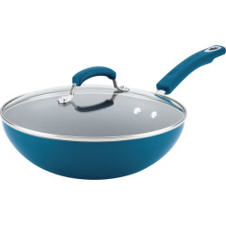 Rachael Ray 11-in. Aluminum Nonstick Stir Fry Pan, Blue