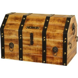 Large Wooden Pirate Lockable Trunk with Lion Rings – Natural -Vintiquewise, Light Brown