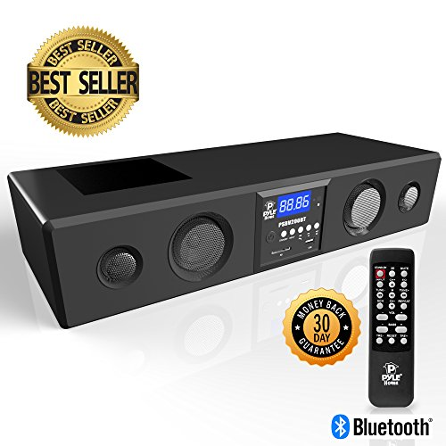 Pyle 3D Surround Bluetooth Soundbar – Sound System Compatible to TV, USB, SD, FM Radio with 3.5mm AUX Input and Wireless Remote – PSBV200BT