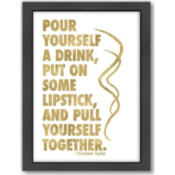 """Americanflat """"Pour Yourself A Drink"""" Framed Wall Art, White"""