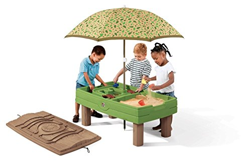 Step2 787800 Naturally Playful Sand & Water Center – Umbrella & Toys Included (Deluxe Pack – Includes Umbrella & Accessories)