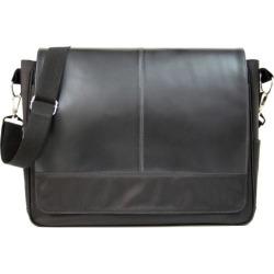 Royce Leather Nylon Laptop Messenger Bag, Black