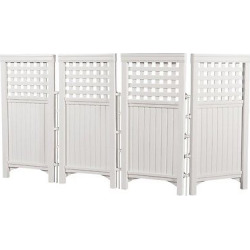 44 Resin Wicker Screen Enclosure – White