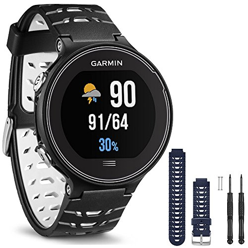 Garmin Forerunner 630 GPS Smartwatch – Black and White – Blue Watch Band Bundle includes Forerunner 630 GPS and Midnight Blue Watch Band