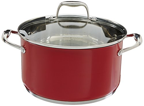 KitchenAid KCS60LCER Stainless Steel 6.0-Quart Low Casserole with Lid Cookware – Empire Red