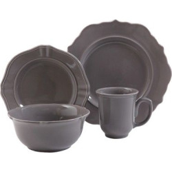 Wellsbridge 16pc Dinnerware Set Charcoal – Threshold, Charcoal Heather