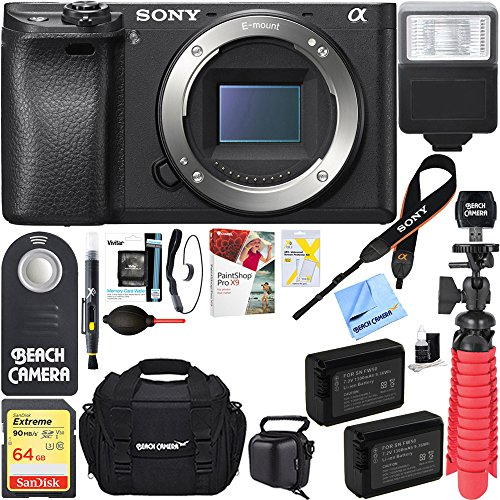 Sony a6300 4K Mirrorless Camera Body w/APS-C Sensor (Black) ILCE-6300/B and Case 64GB SDXC Memory Card Pro Photography Bundle (Camera Body Bundle, Black)