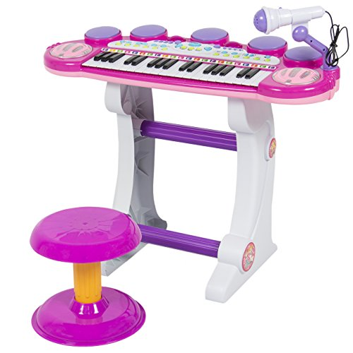 Best Choice Products 37-Key Kids Electronic Piano Keyboard w/ Record and Playback, Microphone, Synthesizer, Stool – Pink
