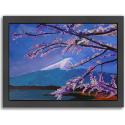 "Americanflat ""Mount Fuji With Lake And Almond Blossom Time"" Framed Wall Art, Multicolor"