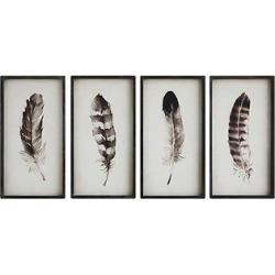 Wood Feather Wall Décor 4 pc (23.6″x12.3″) – 3R Studios, Black