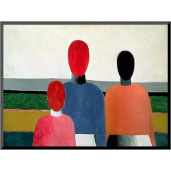 Art.com Three Female Figures, 1928-32 by Kasimir Malevich – Mounted Print, Multi-Colored