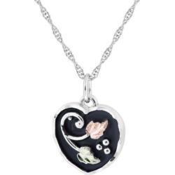 Black Hills Gold Tri-Tone Black Powder Coat Heart Pendant Necklace in Sterling Silver, Women's, Size: 18″, Grey