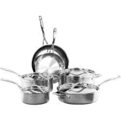 Oneida 10-pc. Tri-Ply Hammered Stainless Steel Cookware Set, Multicolor