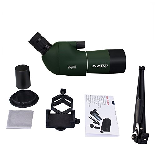 SVBONY Spotting Scope Telescope 15-45x50mm Bird Scopes for Shooting Birdwatching Scope in Shooting Range Waterproof with Tripod and Phone Adapter