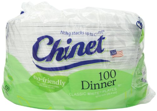 Chinet Economy Pack- 10 3/8 Dinner Plate 400 Plates Total (Classic)