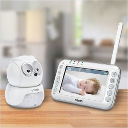 VTech Owl Digital Video Baby Monitor with Pan & Tilt Camera and Night Vision – VM344, Silver