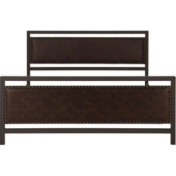 Vintage Metal And Upholstered Queen Size Bed – Queen – Brown – Dorel Home Products