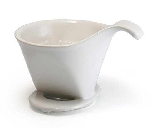 Bee House Ceramic Coffee Dripper – Large – Drip Cone Brewer (White)