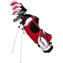 Boys Age 9-12 Tour Edge HT Max-J Junior Left Hand 5×2 Golf Club & Bag Set, Red