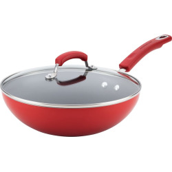 Rachael Ray 11-in. Aluminum Nonstick Stir Fry Pan, Red