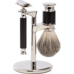 Bey-Berk Safety Razor & Pure Badger Brush, Black
