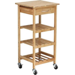 Oceanstar Bamboo Kitchen Trolley, Brown