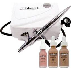 Arialwand Airbrush Kit with Serum Infused Foundation Tan – 1 oz