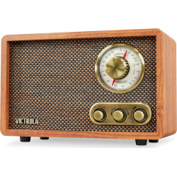 Victrola Retro Wood Bluetooth FM/AM Radio with Rotary Dial, Brown