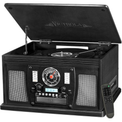 Victrola 8-in-1 Bluetooth Record Player with USB Recording, Black