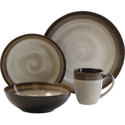 Gibson Couture Bands 16pc Dinnerware Set Brown