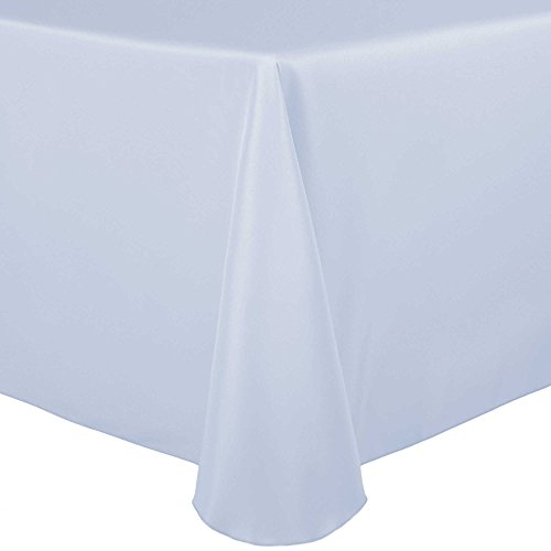 Ultimate Textile -5 Pack- 60 x 84-Inch Oval Polyester Linen Tablecloth – for Home Dining Tables, Ice Blue