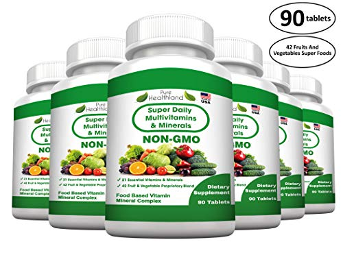 FOOD BASED Super Daily Multivitamin Supplement Tablets For Adult Men Women Seniors With 42 Natural Fruits Vegetables Blend, 21 Essential Vitamins Minerals. Boost Immune System And Energy! – 6 Bottles