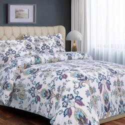 Printed Flannel 3-piece Duvet Cover Set, Blue