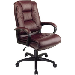 Office Star Products Deluxe High Back Executive Leather Chair, Red