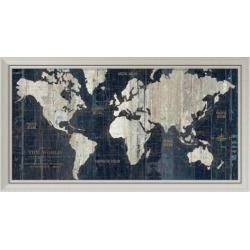 Amanti Art Old World Map Blue Framed Wall Art, Silver