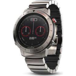 Garmin fenix Chronos GPS Watch with Brushed Titanium Hybrid Watch Band, Silver