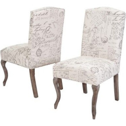 Crown Top French Script Fabric Dining Chair Wood/Beige (Set of 2) – Christopher Knight Home