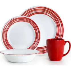 Corelle Brushed 16-pc. Dinnerware Set, Red