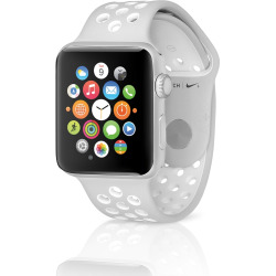 Apple Watch Nike+ 38mm Silver Case w/ Sport Band – Flat Silver / White (Pre-Owned)