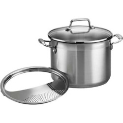 Tramontina Gourmet Tri-Ply Base 6-qt. Stainless Steel Pasta Cooker, Grey