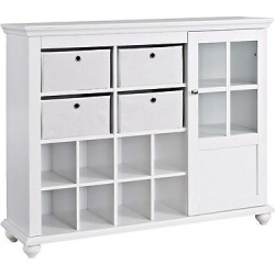 Reese Park Storage Cabinet with 4 Fabric Bins Glass Door – White – Ameriwood Home