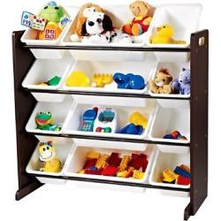 Tot Tutors Modern Classics Toy Organizer – Espresso, Multicolor Rainbow