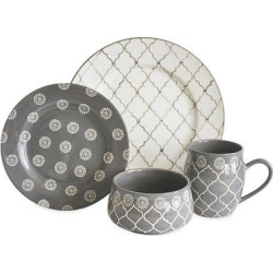 Baum Bros. Morocco 16pc Dinnerware Set Gray
